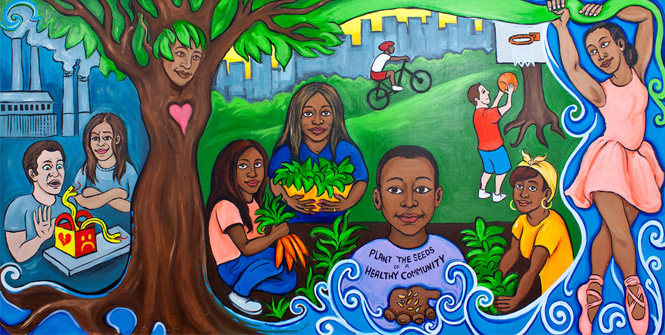 Plant the seeds of a healthy community williamsbridge for Community mural