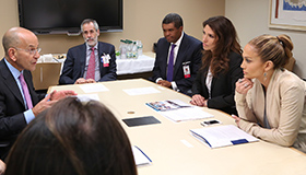 Steven M. Safyer, MD, President and CEO, Montefiore, and senior leaders meet with Lynda and Jennifer Lopez