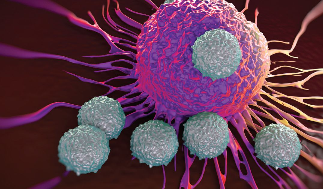 Illustration of microscopic T-cells attacking a cancer cell.