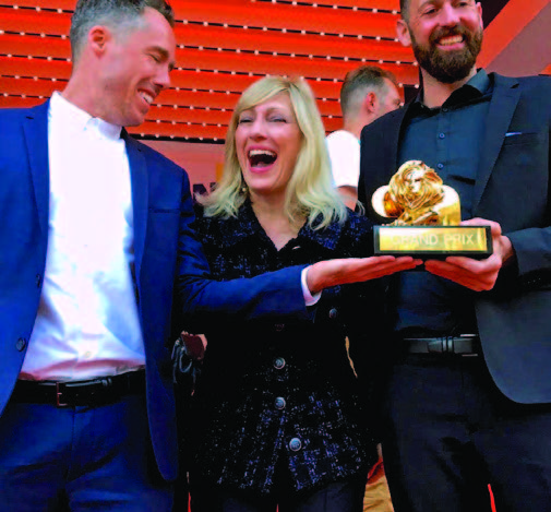 Loreen Babcock,John McKelvey, and Hannes Ciatti receiving the Cannes Lions Grand Prix in Health and Wellness.