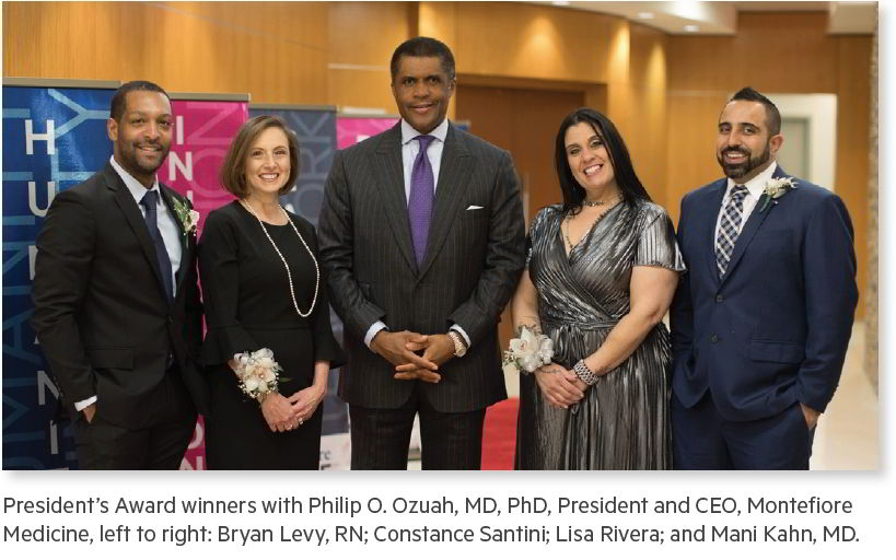 President's Award winners with Philip O. Ozuah, MD, PhD, President and CEO, Montefiore Medicine