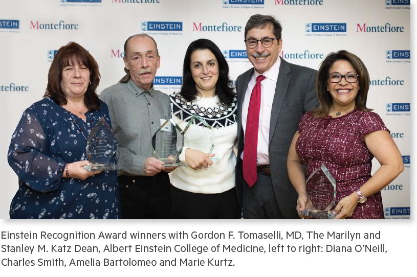 Einstein Recognition Award winners with Gordon F. Tomaselli, MD, The Marilyn and Stanley M. Katz Dean